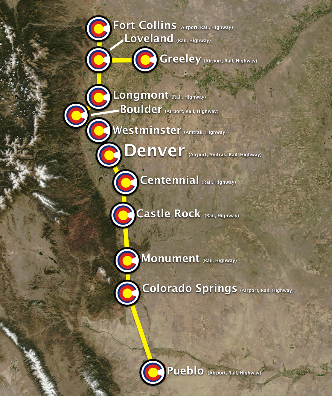 Hyperloop Connected Colorado Cities (Fort Collins, CO ↔ Greeley ↔ Loveland ↔ Longmont ↔ Boulder ↔ Westminster ↔ Denver ↔ Centennial ↔ Monument ↔ Castle Rock ↔ Colorado Springs ↔ Pueblo )
