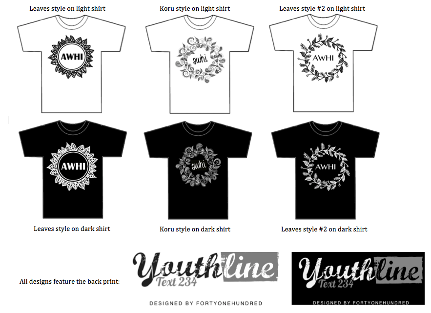 "Youthline Wellington T-shirt design options - designed by the amazing <a href=""http://www.fortyonehundred.co.nz/"" rel=""nofollow"">Fortyonehundred</a>."