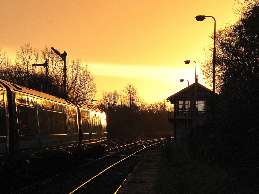 f) Signalman's winter morning at Brundall, on the Wherry Lines