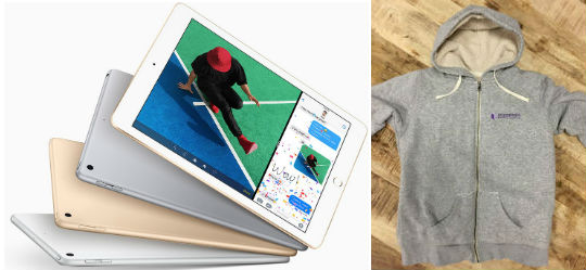 This brand new iPad or cosy EMG Hoodie could be yours! Just complete the survey!