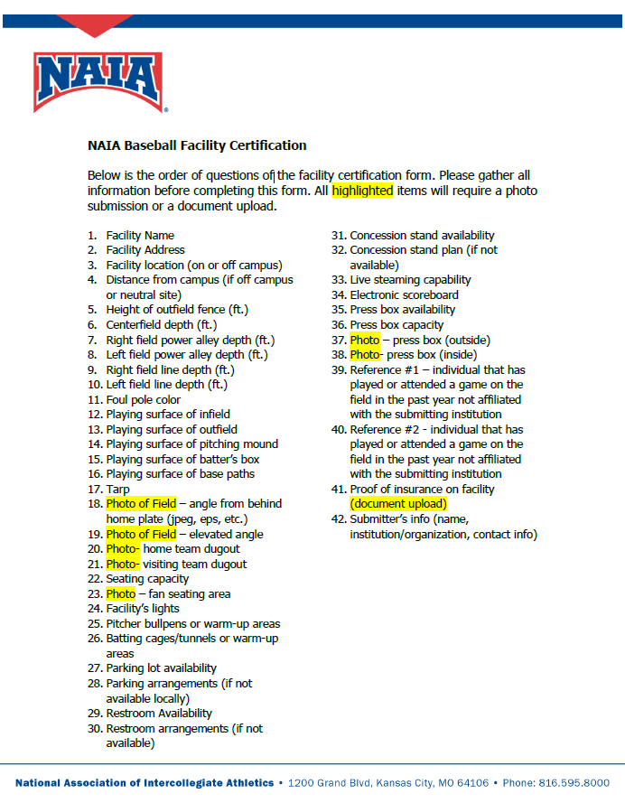 Please review the necessary items needed to complete this facility certification form. This document contains all of the information that will be required, including questions, photos, and documents needed to submit your facility certification form. Each field will require an answer before moving on to the next question. Please be prepared with all necessary facility data, photos, documents, and references.