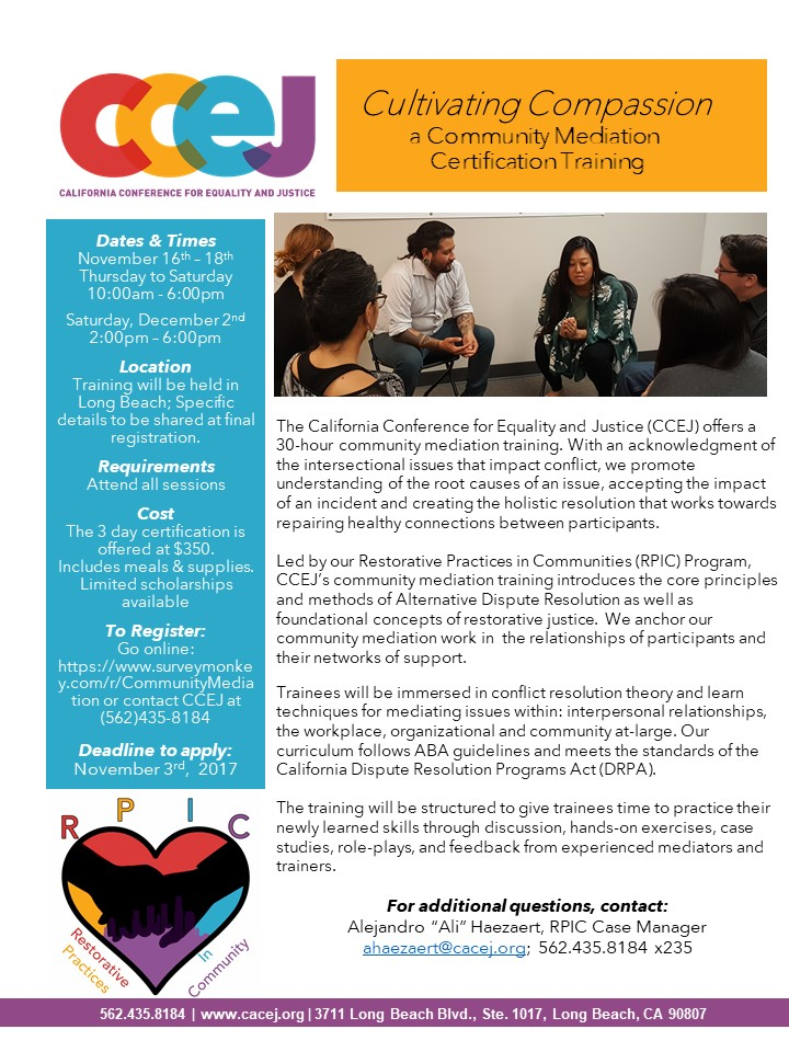 Cultivating Compassion A Community Mediation Certification Training