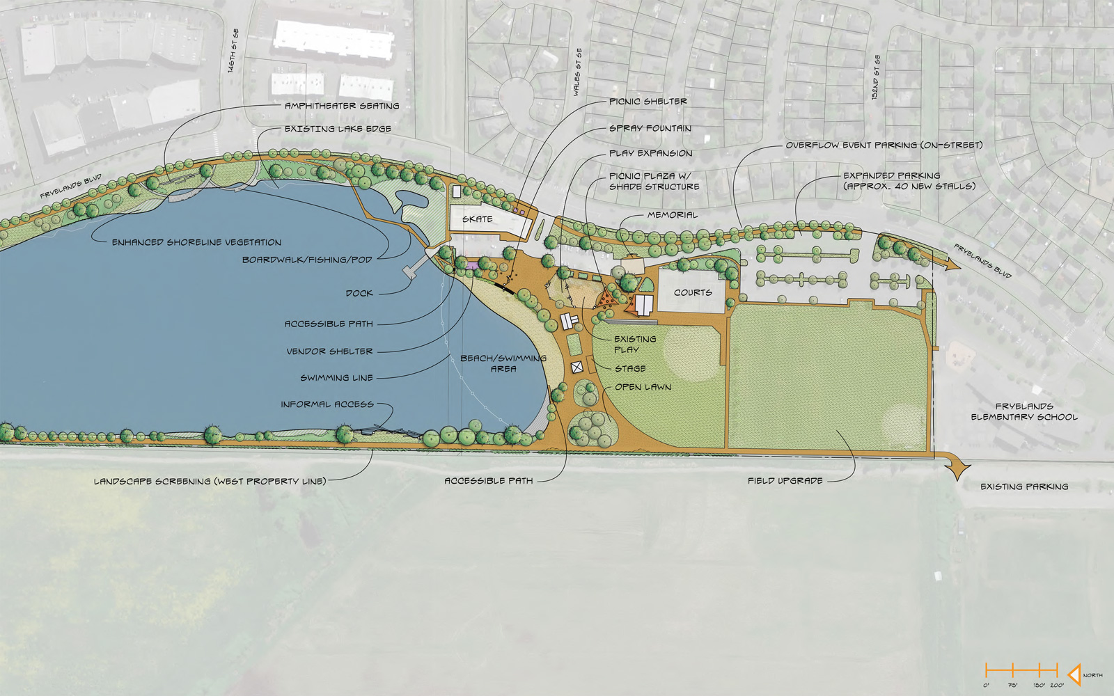 "OK, let's check out the <strong>latest plans</strong> for Lake Tye. Here's a view of the <strong>south end</strong>, where most of the events and organized activities would take place. This concept proposes to expand the beach, make the water more accessible, include a dock and fishing areas, expand parking, facilitate concerts and other events, expand the playground and spray fountain and provide more picnic areas. <a href=""https://drive.google.com/file/d/0BxrVDQaWMHGdWmtCX3M4NzhlLXM/view?usp=sharing"" rel=""nofollow"" target=""_blank"">Click here </a>to see an enlarged view in a new window. <br><br>"