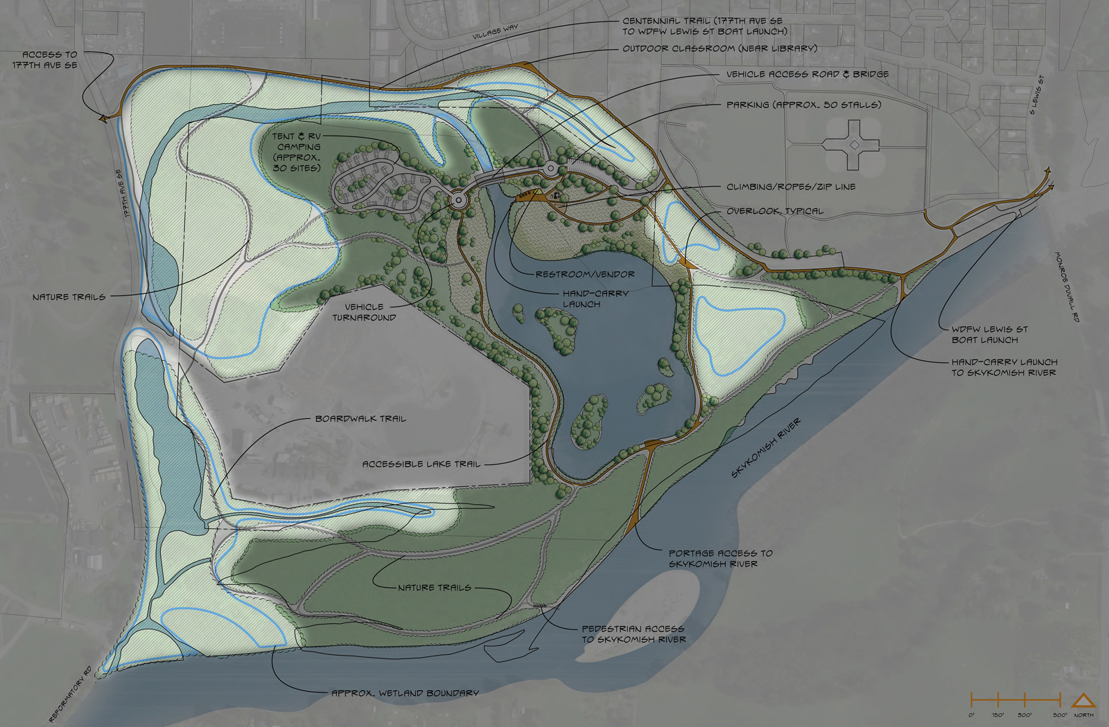 "Let's move to the <strong>wetland areas</strong> of the Cadman Site. Much of Cadman is classified as wetland, limiting the degree of development that can occur there. Regardless, there are opportunities for trails and other low-impact uses that make the wetlands more accessible for those using the site or interested in wetland functions. This concept proposes a trails network with direct connections to the uplands, interpretive and educational signs, and opportunities for extended paddling when the water is high. <a href=""https://drive.google.com/file/d/0BxrVDQaWMHGdaGNHdkpzWktHbjg/view?usp=sharing"" rel=""nofollow"" target=""_blank"">Click here </a>to see an enlarged view in a new window. <br><br>"