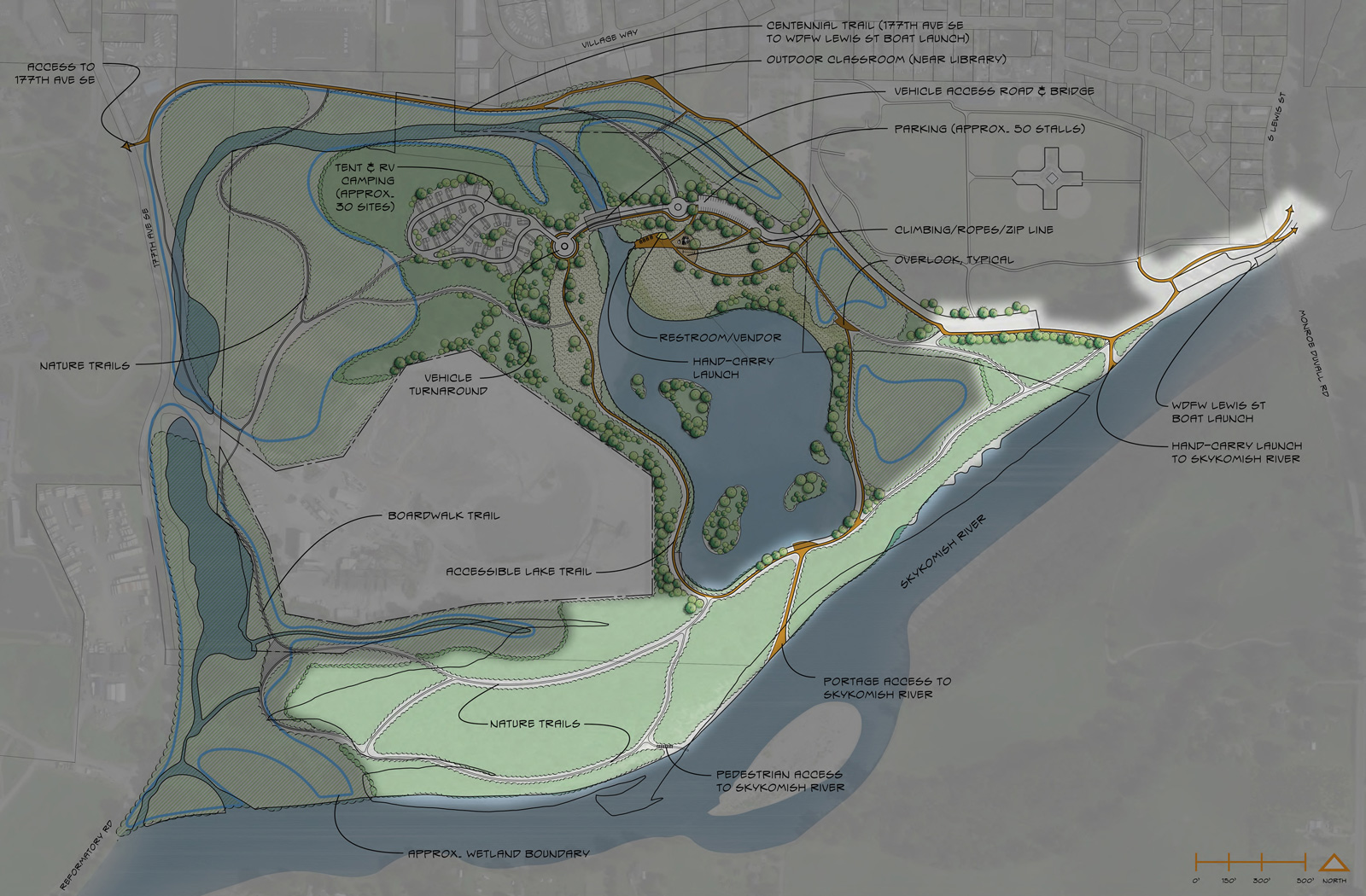 "Let's move to the <strong>river-shore area</strong> of the Cadman Site. The community enthusiastically supports river access, and this area offers abundant river frontage. The types of things proposed here will be designed to be either resilient or easily replaceable, anticipating frequent flooding. The plan includes trail access to the river, trails along the length of the river, launches for hand-carry watercraft, a portage between the pond and river, and strategies to enhance the shoreline environment. <a href=""https://drive.google.com/file/d/0BxrVDQaWMHGdQ2s1c0ljalJtZDg/view?usp=sharing"" rel=""nofollow"" target=""_blank"">Click here </a>to see an enlarged view in a new window. <br><br>"
