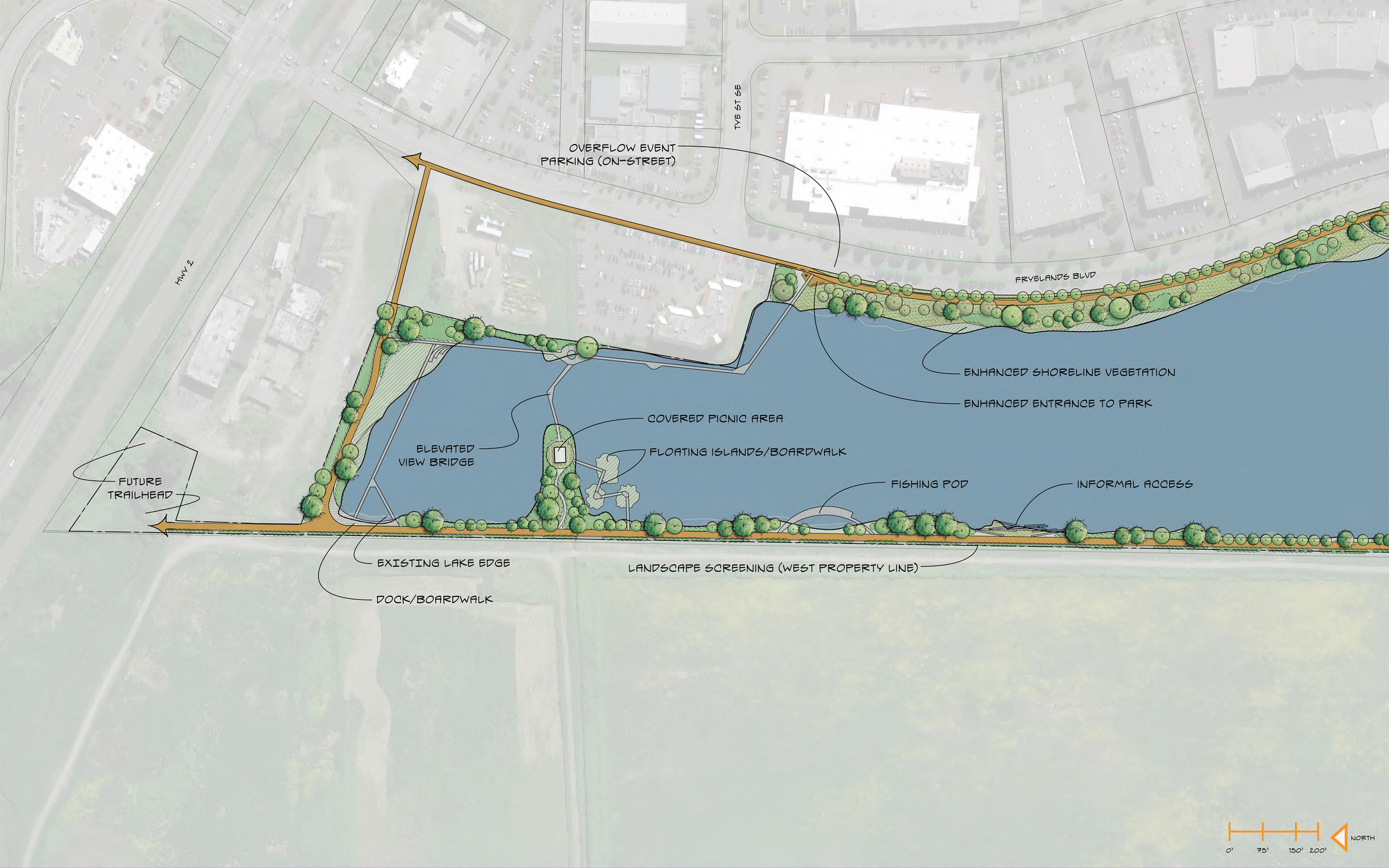 "Now, let's move to the (north) <strong>lakeshore</strong> portions of Lake Tye. Here's where Lake Tye's quieter side happens, with features allowing folks to run and bike, enjoy a quiet stroll or shoreline angling. This concept completes the trail circuit along the lake, introduces a ""view bridge"" near the northern shore, adds places to fish, enhances the water's edge with trees and other plants, and provides occasional boardwalks to enrich the waterside experience. <a href=""https://drive.google.com/file/d/0BxrVDQaWMHGdZGJhUGNGWmFmM3c/view?usp=sharing"" rel=""nofollow"" target=""_blank"">Click here </a>to see an enlarged view in a new window. <br><br>"