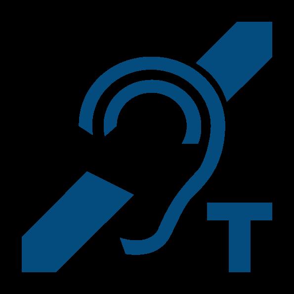 Logo oreille barrée avec la lettre T