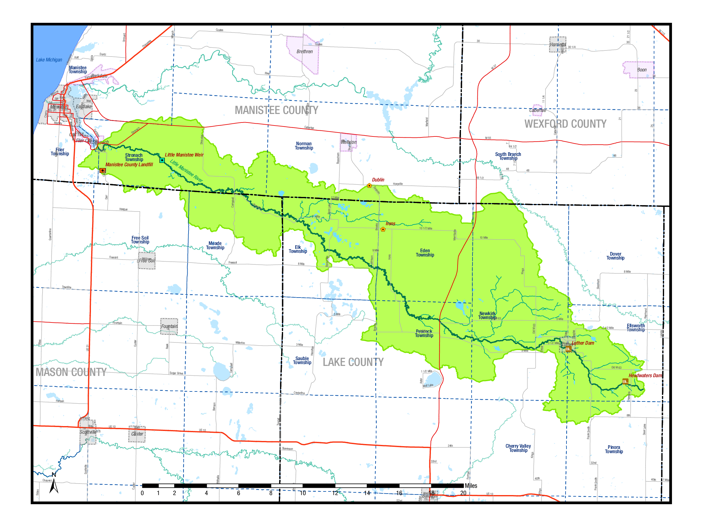 Little Manistee Watershed (green shaded area)