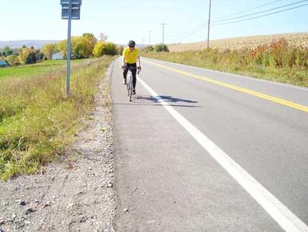 Wide roadway shoulder