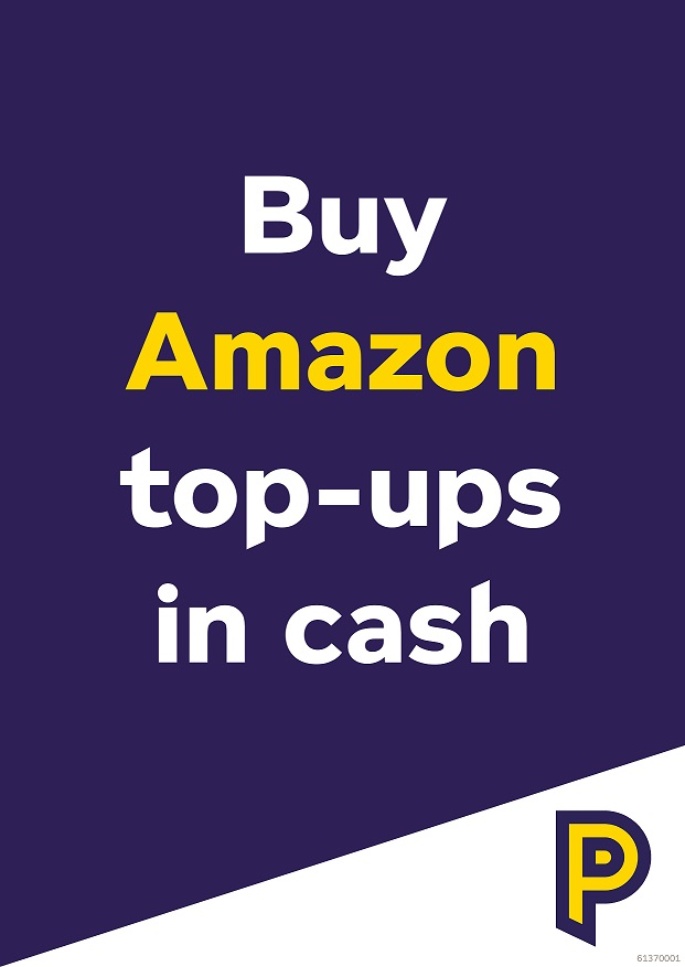 61370001 A4 Amazon top-up poster