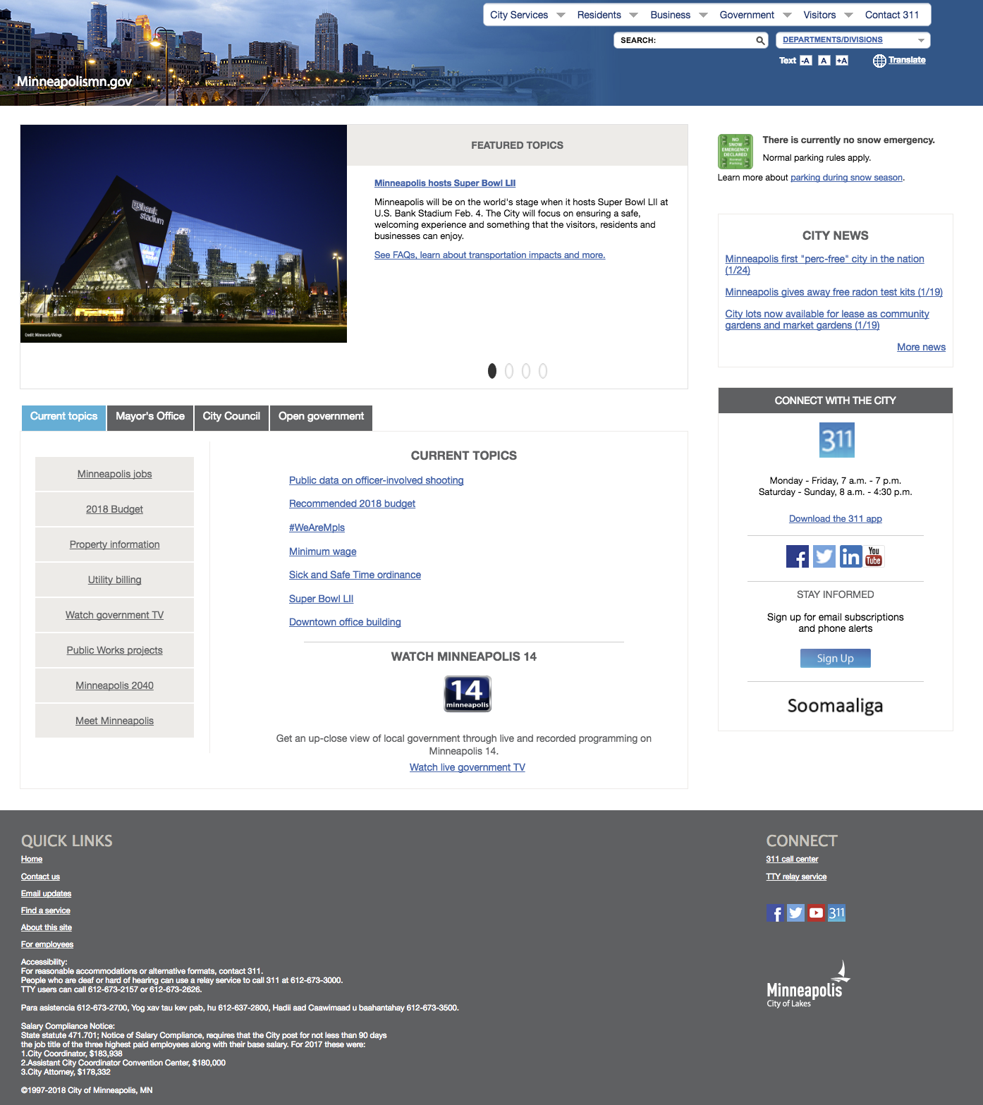 Current City of Minneapolis Website (http://www.ci.minneapolis.mn.us/)