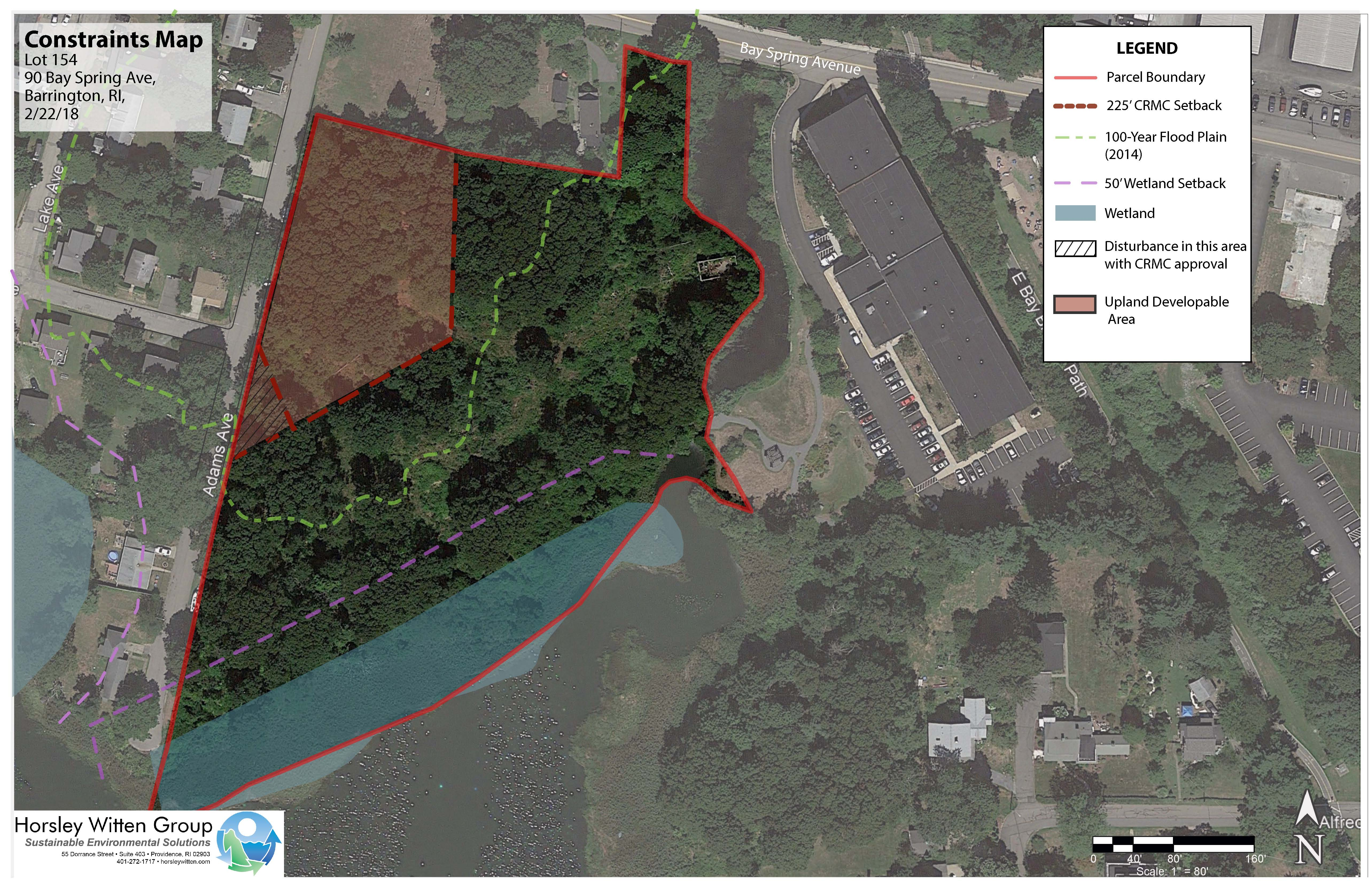 Development Constraints for the Allin's Cove site. The area with hash marks is within the CRMC buffer, but CRMC has noted that because it is across Adams Avenue from the coastal resource the buffer is meant to protect, they are open to considering development there.