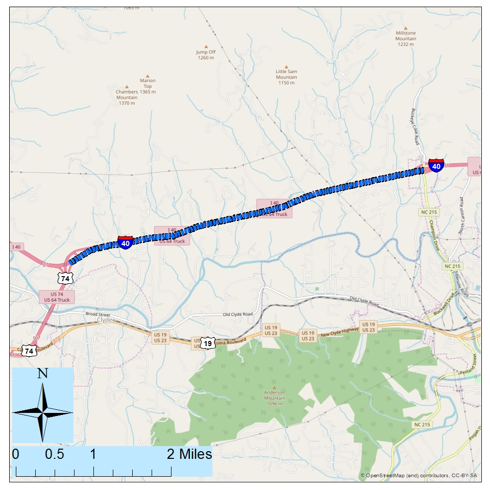 <strong>Project: I-40 Widening from NC 215 (Ex. 31) to US 23/US 74 (Ex. 27).   </strong> <br><br>Description: Widen interstate to six-lane divided with paved shoulders to add capacity and improve safety.