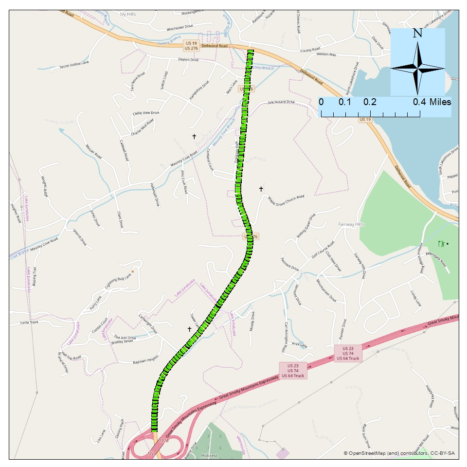 <strong><br><br>Project: Russ Ave (US 276) Median and Access Management from Great Smoky Mountains Expwy (US 23/US74) to Dellwood Rd (US 19)</strong><br>Description: This project would enhance the capacity and safety of Russ Avenue by installing a median, consolidating driveways or access roads, etc. The project may also include Complete Streets elements such as bike and pedestrian accommodations.