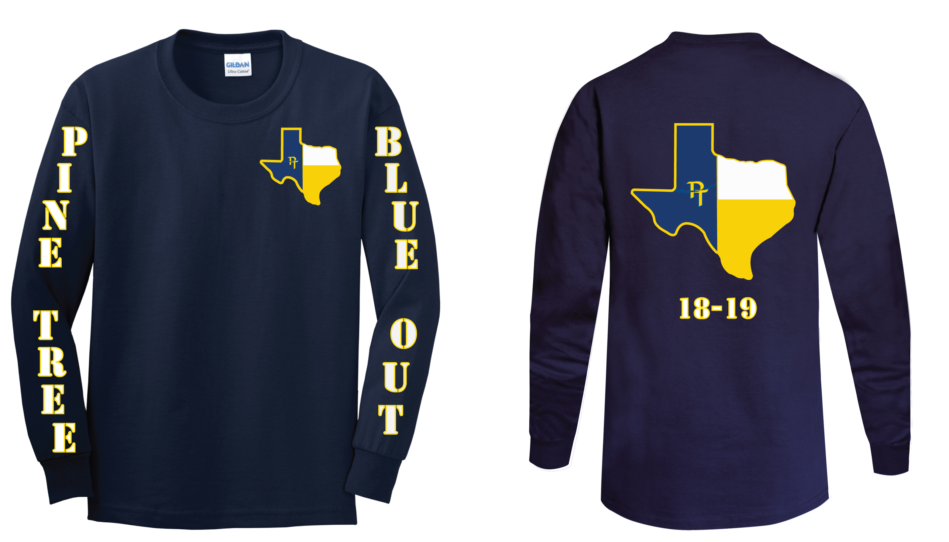 G. Blue and Gold Texas by Brody Delaurelle 10th Grade (design will be on a short sleeve t-shirt)