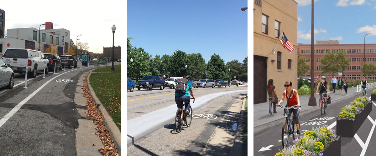 Examples of protected bikeways