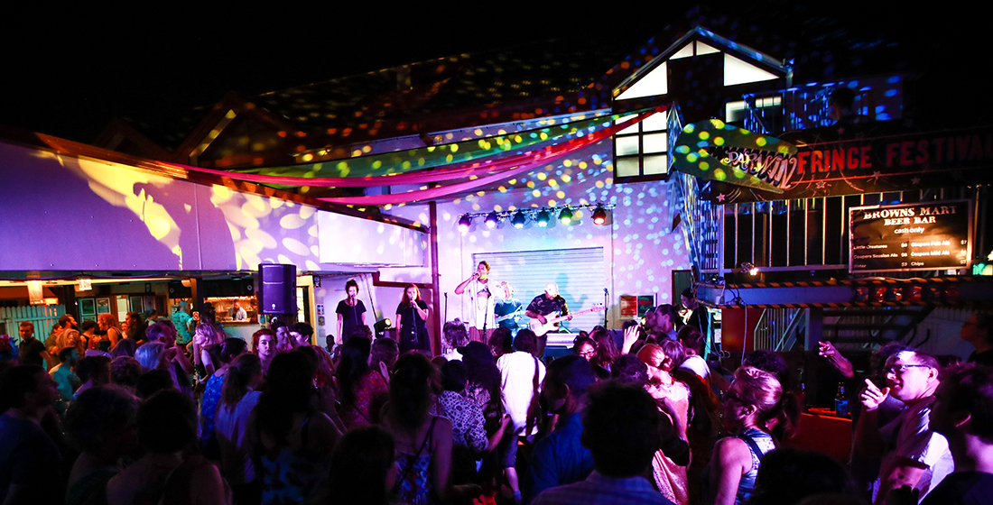 From the D.O.T.S playing at the Opening Night Party in the Brown's Mart courtyard. Photo thanks to Matthew Parker.