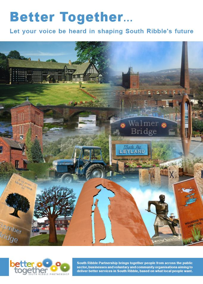 Key landmarks of South Ribble including Samlesbury Hall, Penwortham Water Tower and welcome features at Bamber Bridge, Lostock Hall, Longton and Leyland.
