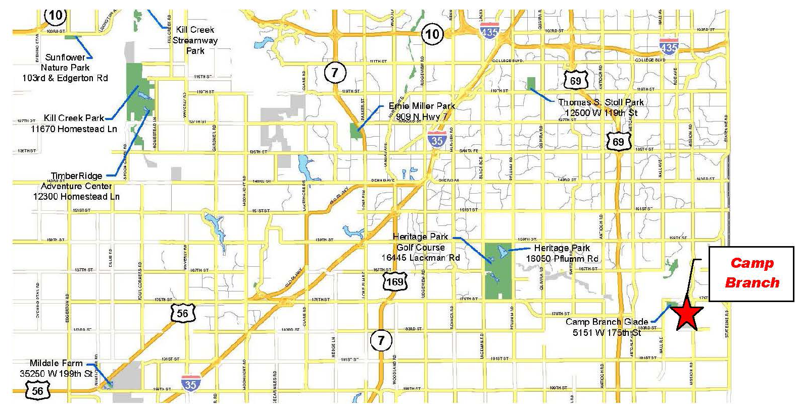 Map of JCPRD Parks located between I-435 and 199th Street