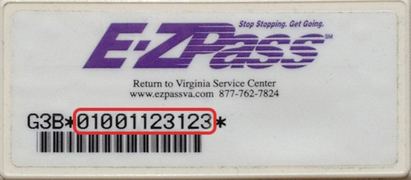 You can find the number on the front of your E-ZPass between the two stars (*).