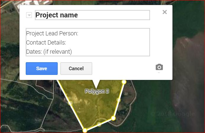 We are creating a map of all Landcare projects in the Hunter region, past and present.  To map your site:<br><br>First,  Click on the google maps above this box<br><br>Then follow these Google Map Steps:<br>1. Type in your address, hit the blue search button.  Zoom in enough to identify your site.<br>2. Then using the line symbol, draw a polygon around your site making sure to close the polygon.  Once it is closed, the title box will pop up.<br>3.  Use your Project Name as the Title, and please put in the details:<br>Project Lead Person:<br>Contact Details:<br>Dates: (if relevant)<br>If you have more than one site, repeat this process<br>4. The areas mapped will automatically be saved and you can close the mapping window and return to the survey.<br><br>Any difficulties, contact Stacy on 0429 444 305 for assistance.