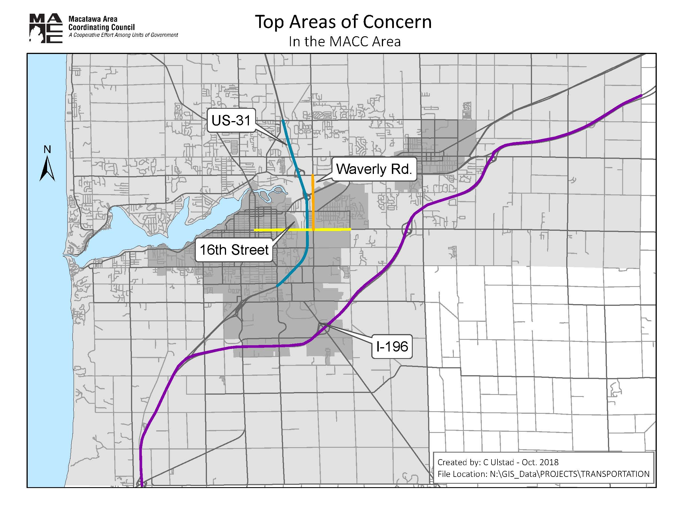 Areas of Concern - For the four road segments listed below, please leave a comment if you have any concerns regarding travel time, safety, pavement quality, etc.
