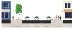 On-street parking & wider sidewalk