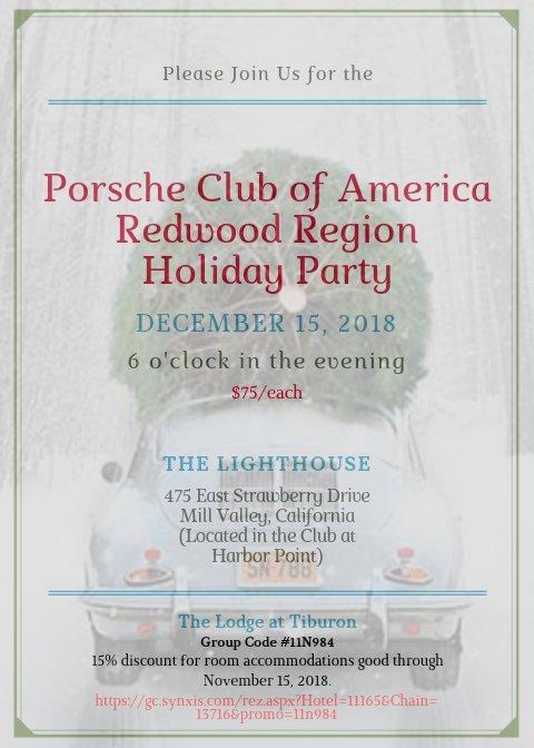 PCA Redwood Region <br>Holiday Dinner Party Invitation