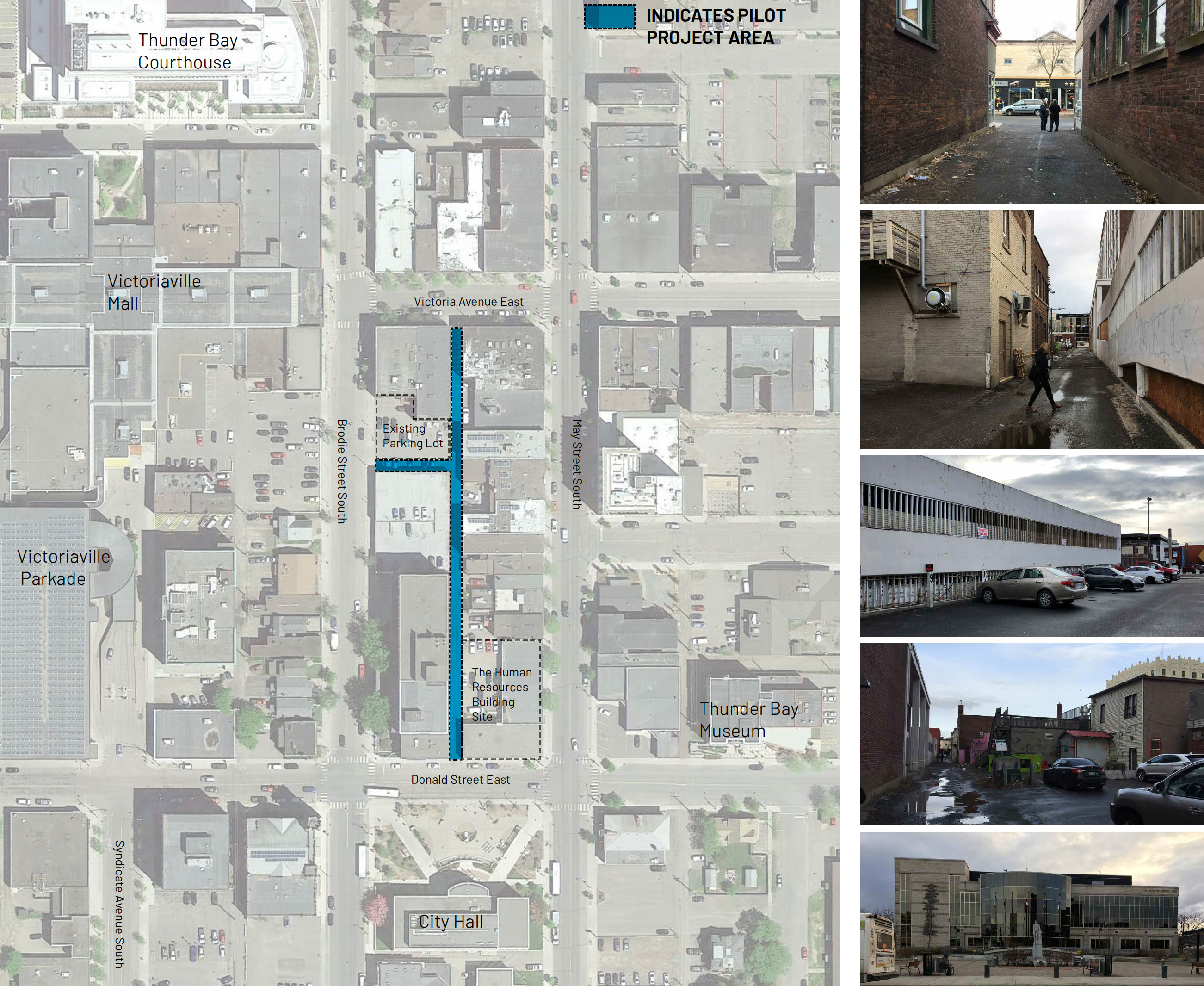 The first laneway under review runs parallel between May Street South and Brodie Street South and extends between Donald Street East and Victoria Avenue East.