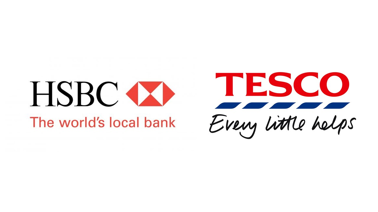 Example Logos with straplines -  HSBC Bank and Tesco