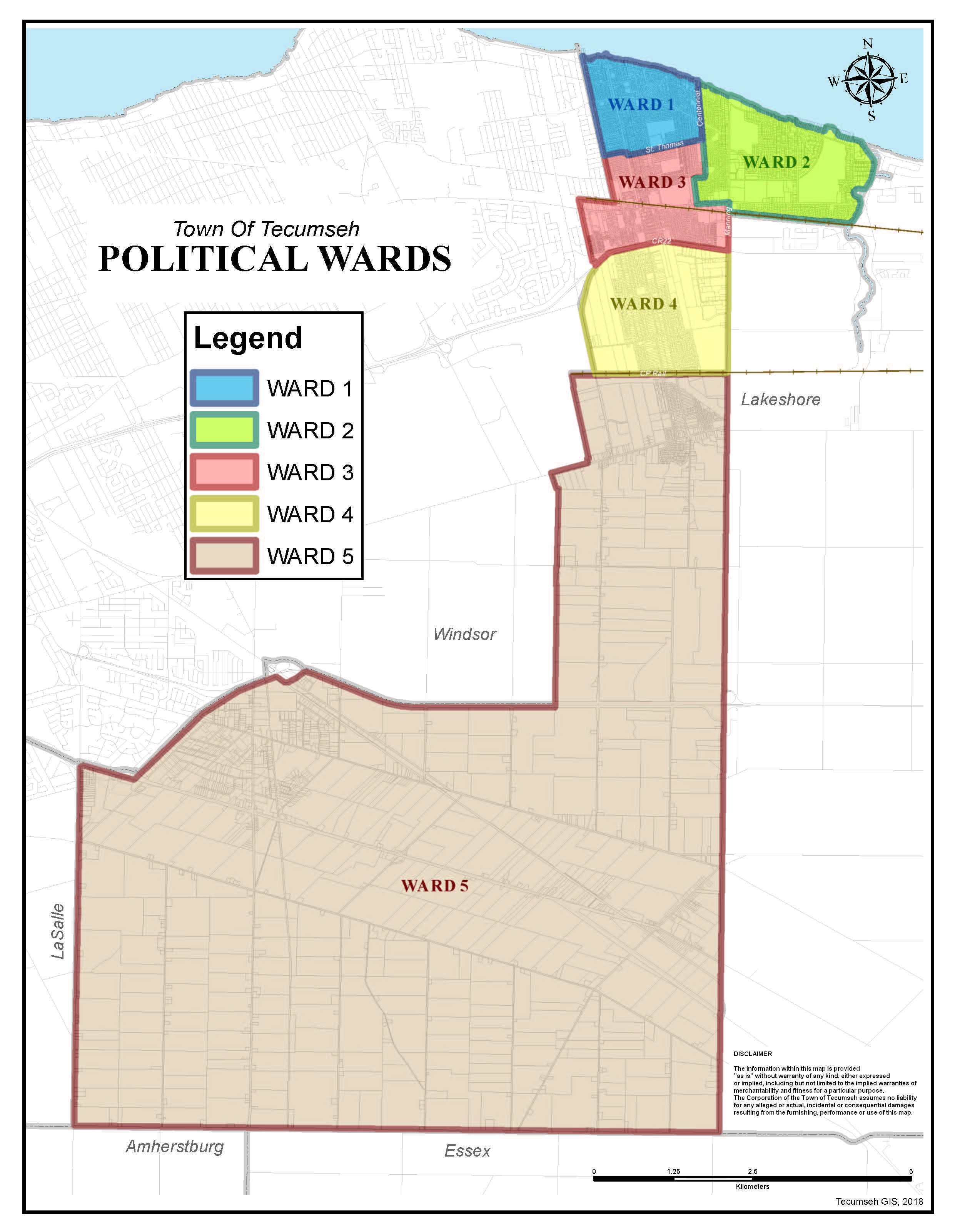 Tecumseh Ward Boundary Map