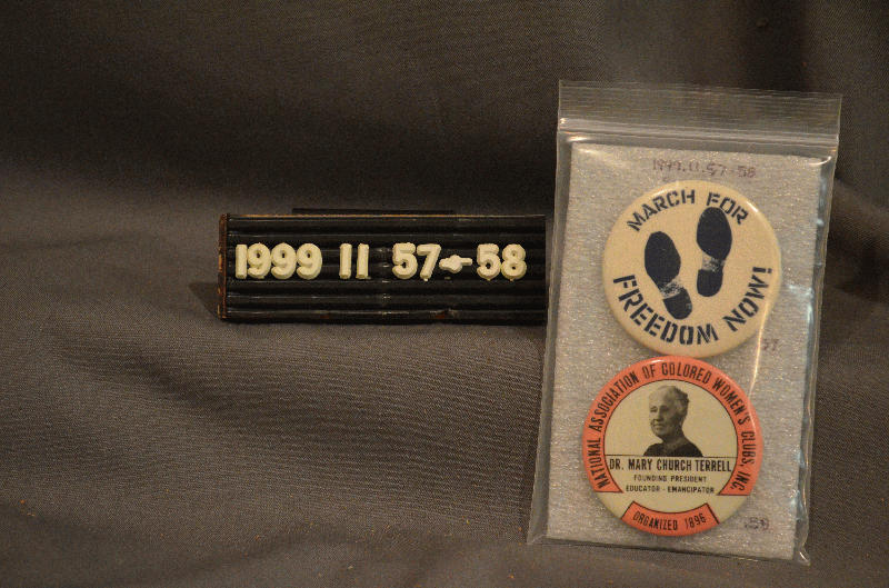 March For Freedom Now pins,  1960s