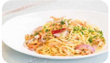 お食事例:川エビと旬野菜のペペロンチーノ