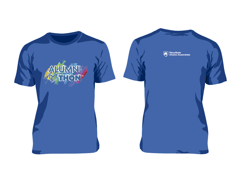 Short-sleeve, Flo blue t-shirt with image centered on front and logo on back.<br>One t-shirt provided with your $20 donation to support the Blue and White<br>Society and Lion Ambassador dancers at THON.