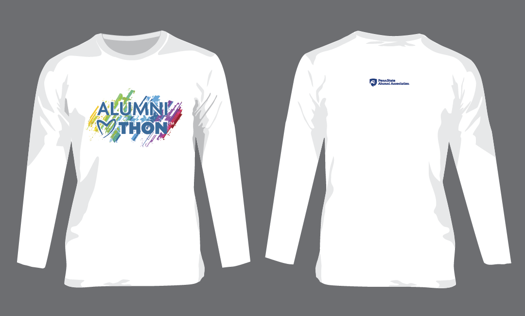 Long-sleeve, white t-shirt with image centered on front and logo on back.<br>One t-shirt provided with your $25 donation to support the Blue and White<br>Society and Lion Ambassador dancers at THON.