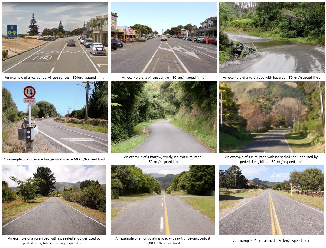 Example photos of safe and appropriate speed limits