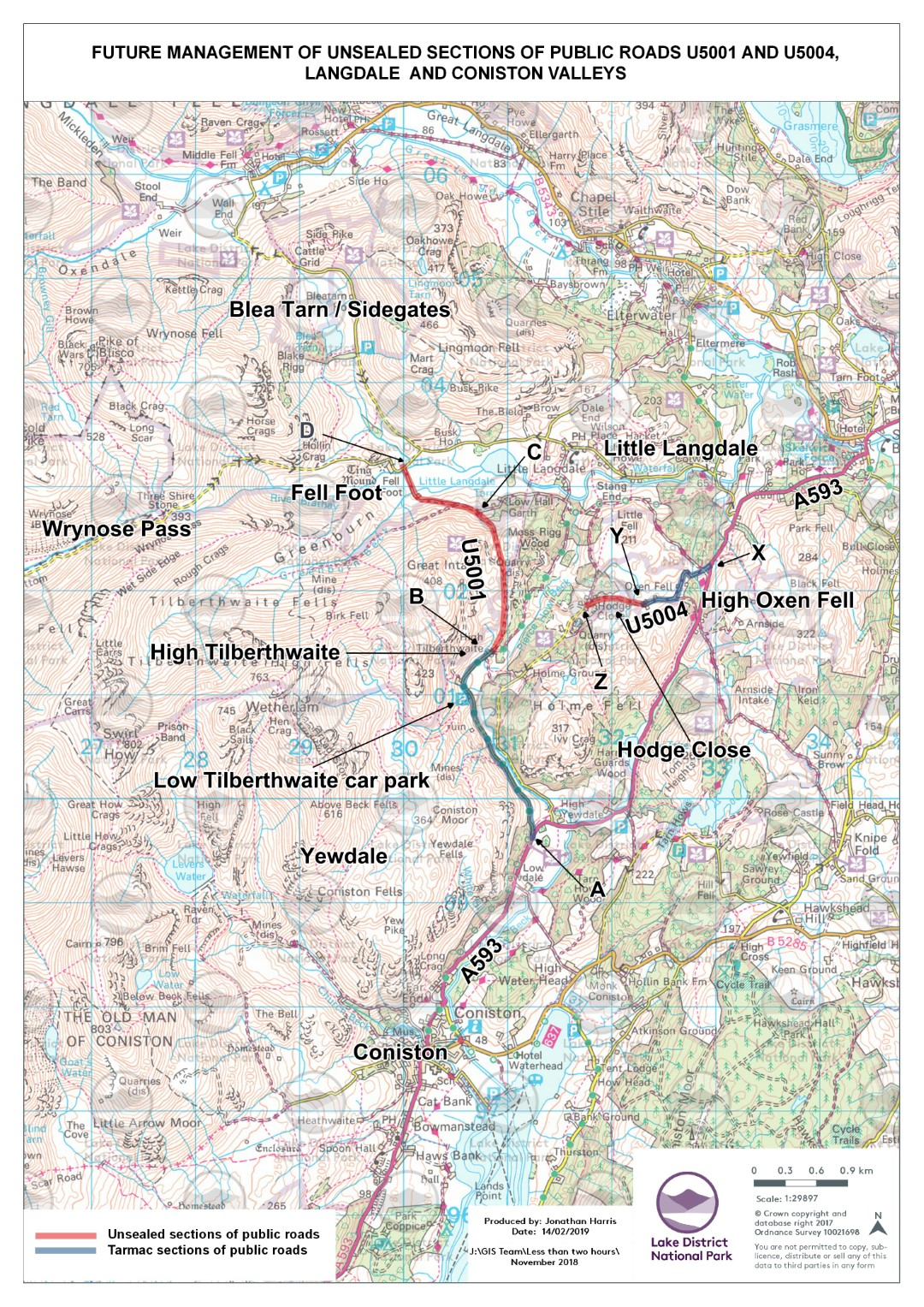 """<span style=""""color: #ff0000; font-size: 14pt;""""><strong>This questionnaire is only for the unsealed section of this road between High Tilberthwaite and Fell Foot, shownB-C-D on this map, and called 'Tilberthwaite Road' from now on.<br><br><span style=""""color: #000000; font-size: 12pt;"""">There is a separate questionnaire (<a href=""""https://www.surveymonkey.co.uk/r/highoxenfell"""" rel=""""nofollow"""" target=""""_blank"""">opens in new window</a>) for the High Oxen Fell road (X-Y)<br></span><br><span style=""""color: #000000;"""">After looking at the map and reading the briefing note, click 'NEXT' to start the survey</span><br></strong></span>"""
