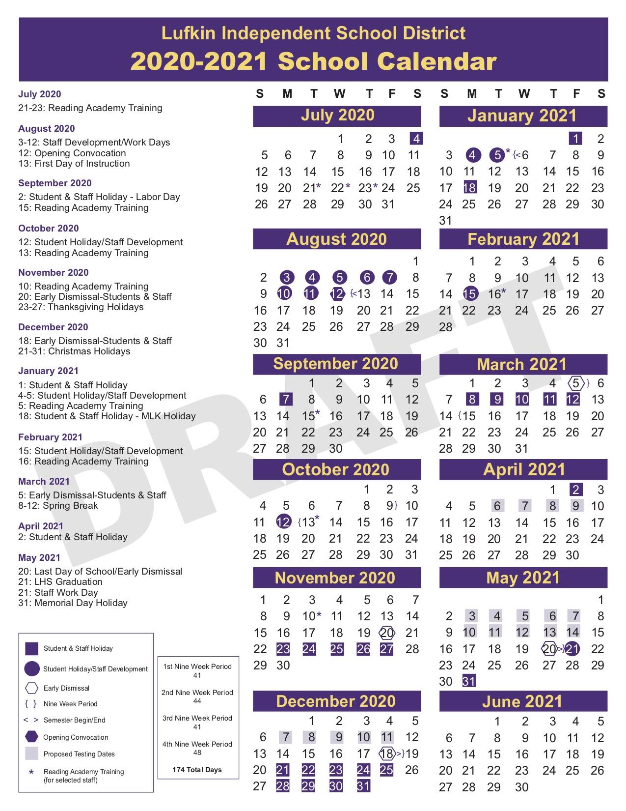 2020-2021 Lufkin ISD Calendar