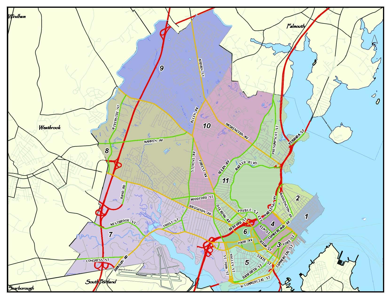 Portland Police sector mapخريطة قطاع شرطة بورتلاند