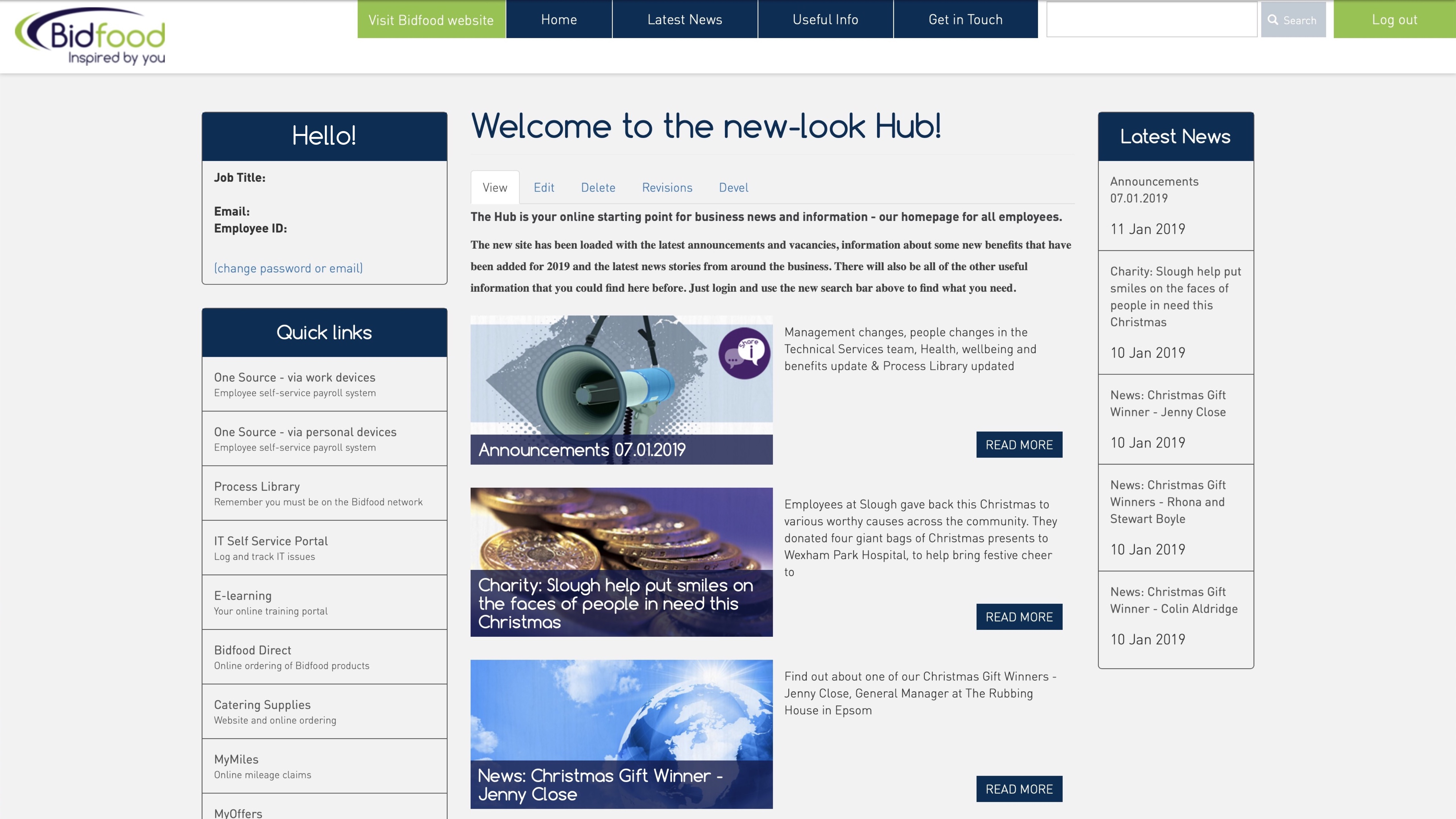 Hub homepage