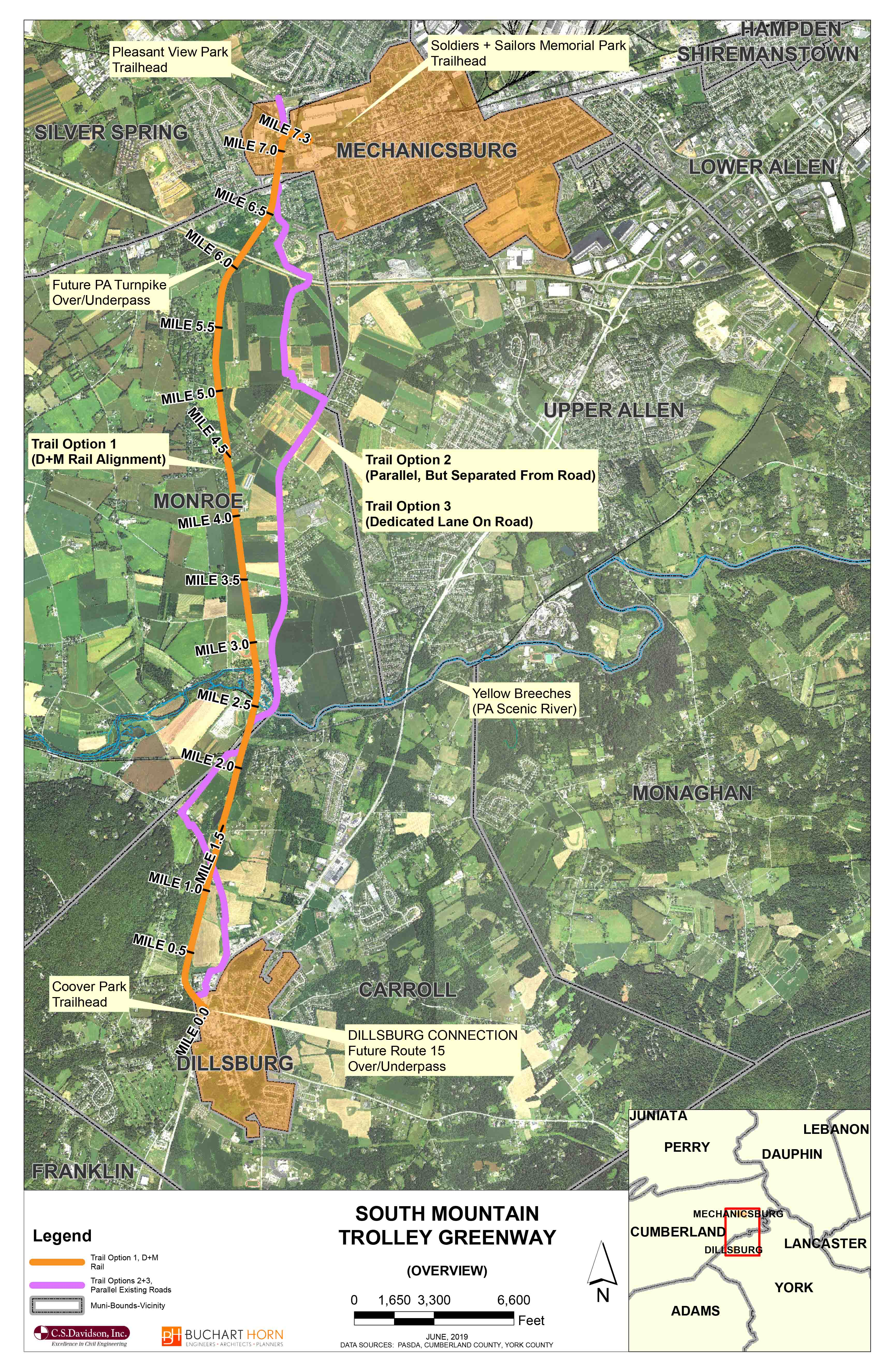 OVERVIEW MAP: South Mountain Trolley Trail, Dillsburg to Mechanicsburg