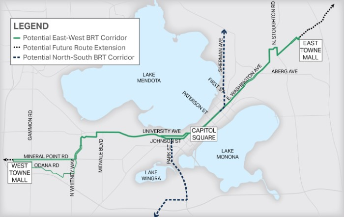 The proposed East-West BRT route will extend from approximately West Towne Mall, along Mineral Point Road or Odana Road, to Whitney Way, to University Avenue, through Downtown Madison, and along East Washington Avenue to East Towne Mall. The exact locations, as well as routing on the west side and downtown, are still being determined.