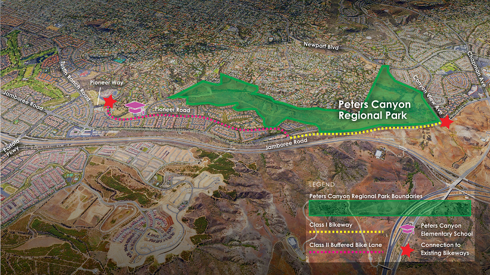 Proposed Peters Canyon Bikeway Extension Project Alignment