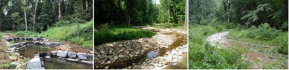 Left to right: Step pools, meanders and a stream connected to its floodplain