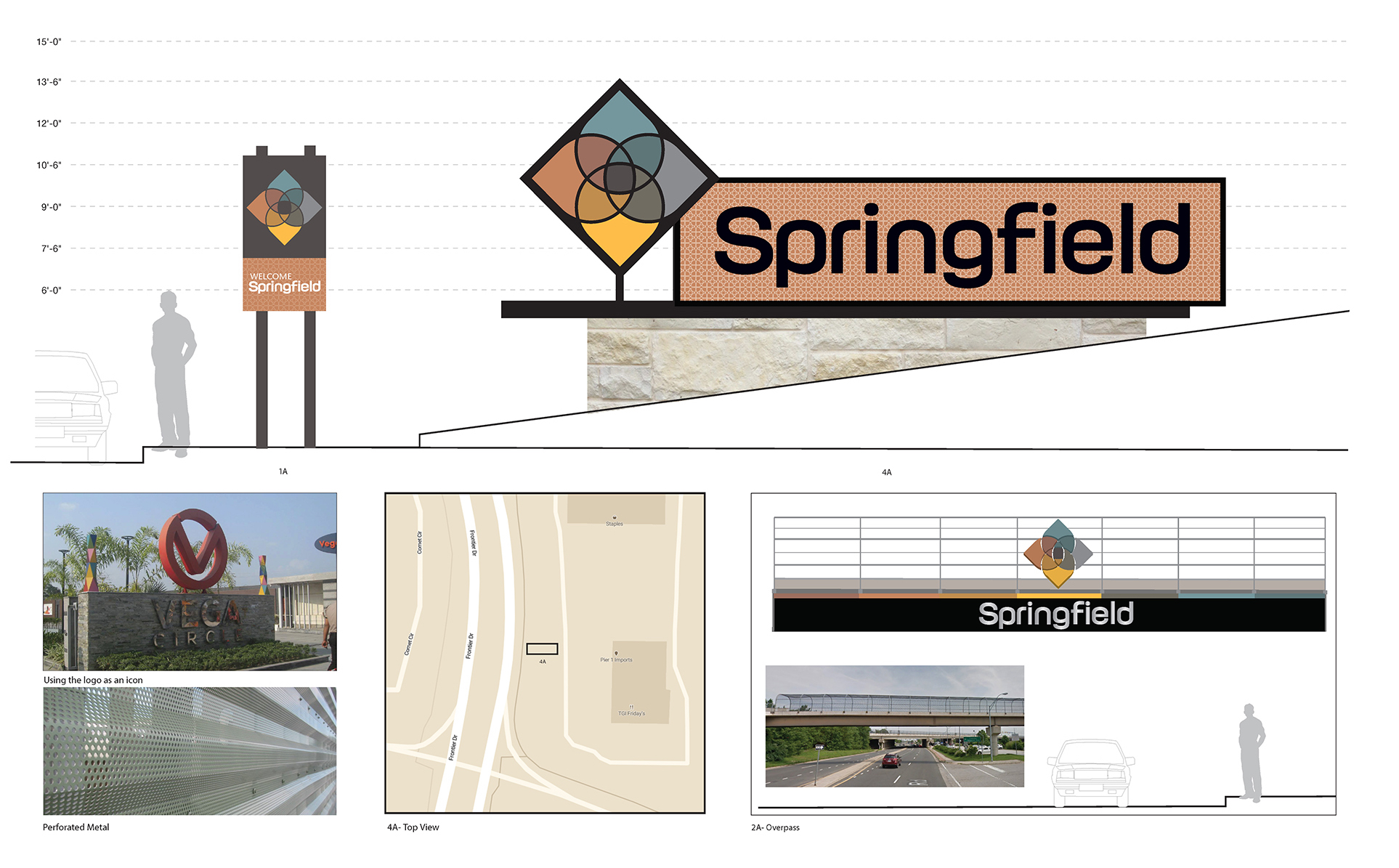 Please review the four design menus below.<br><br><strong>Option A: </strong> <strong>Simple</strong><br>This design represents a traditional possibility for Springfield. Using the Springfield logo as an icon, the design highlights the logo so that visitors driving by can recognize it from far distances.
