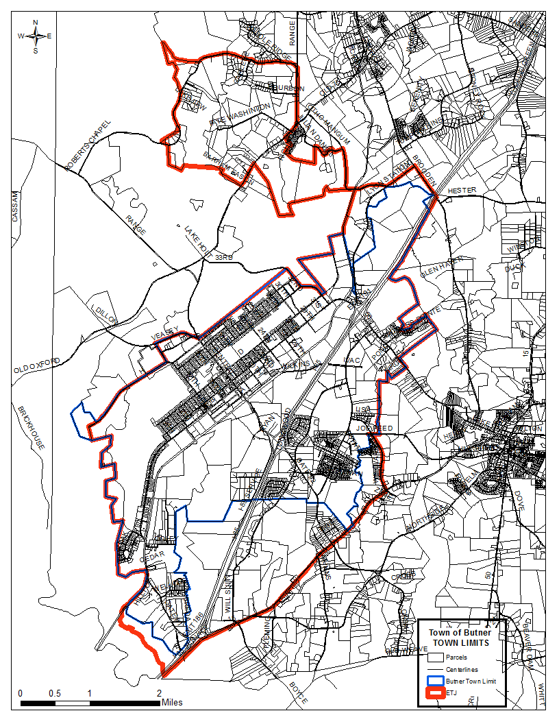 """The area within the red line is the Town of Butner's Planning jurisdiction and Corporate Limits.  You may have a """"Creedmoor"""" or """"Stem"""" zip code, but your are a resident of the Town of Butner if you live within the area outlined in Red."""