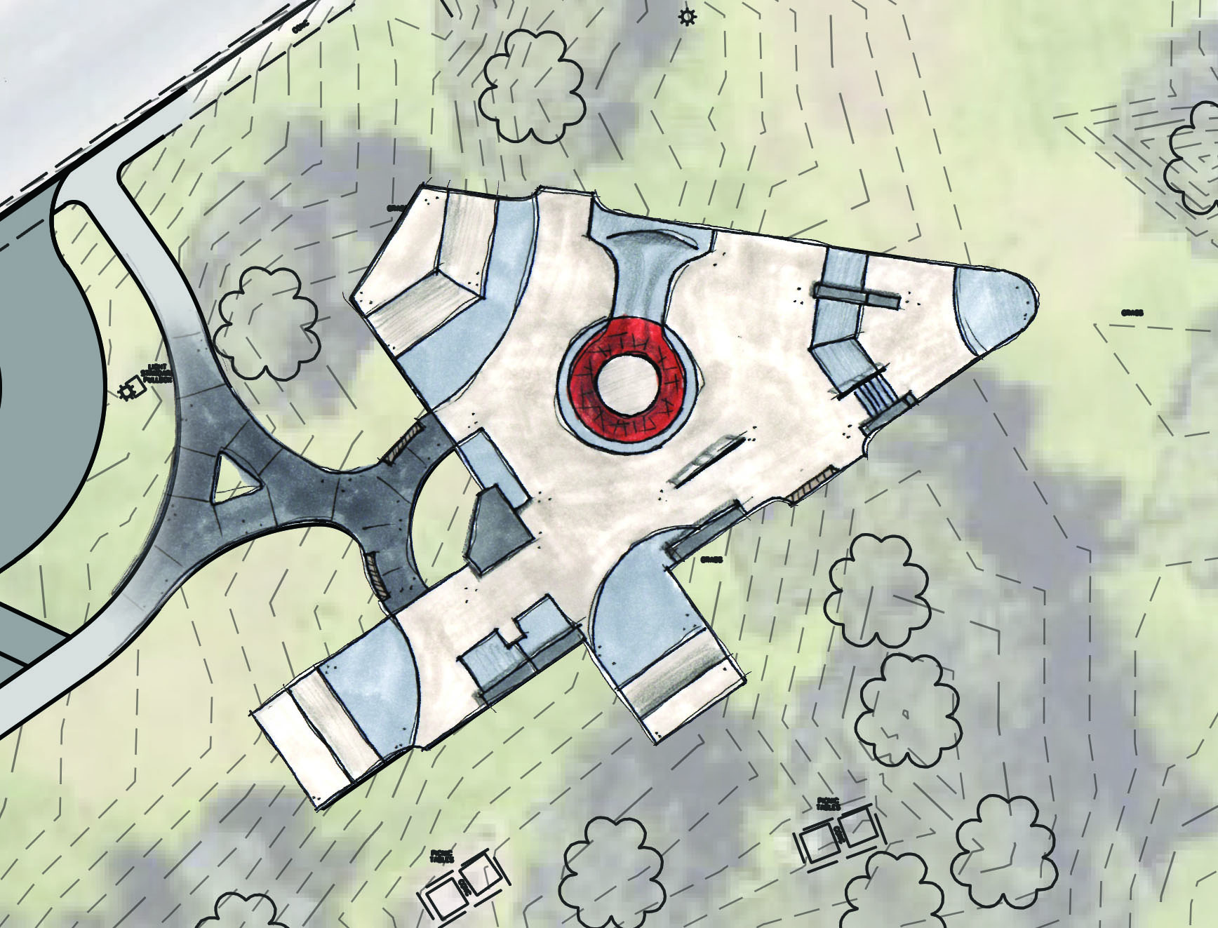 Option #1 - Open street plaza with central volcano feature