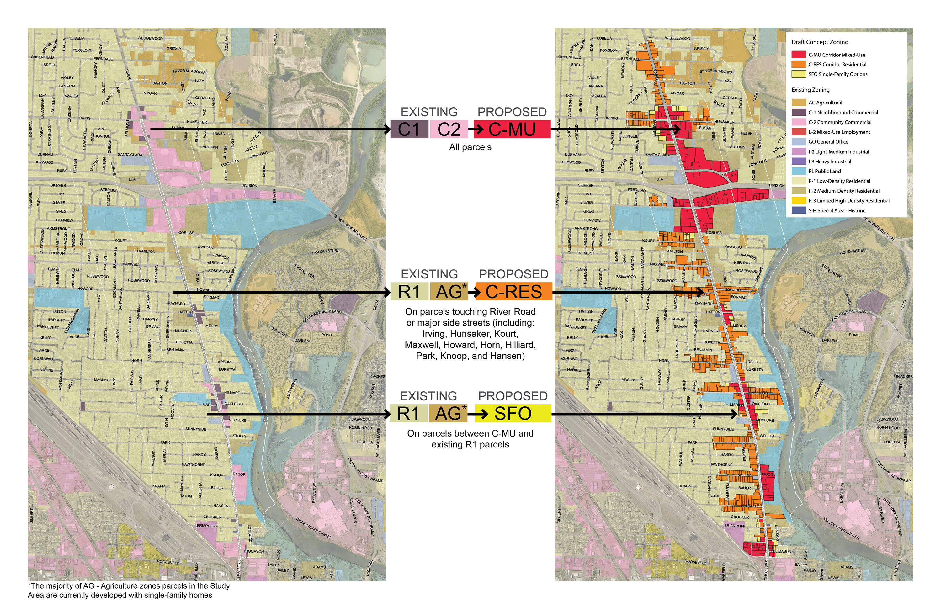 """<span style=""""color: #36545f;""""><strong>How Zones Switch Between Current Zoning and Concept 1 Proposed Zoning</strong></span>"""