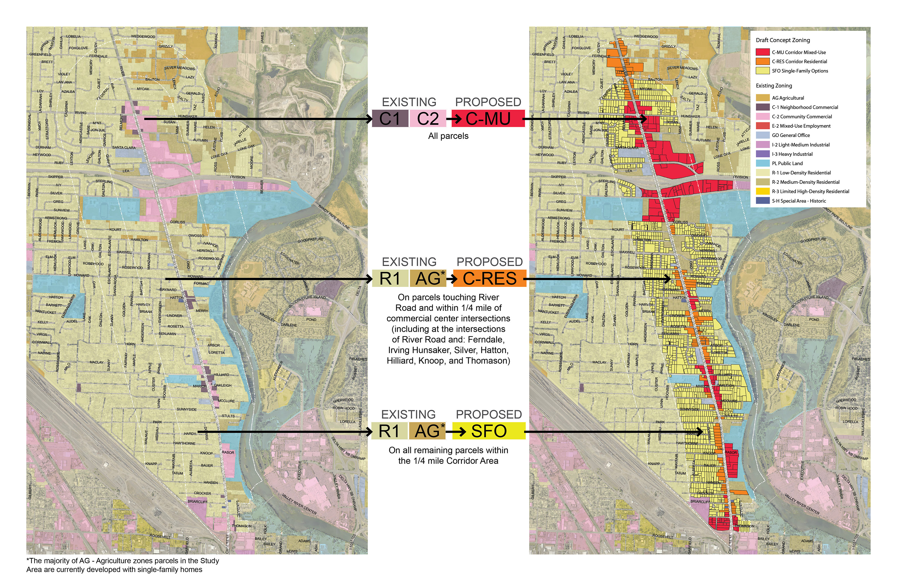 """<span style=""""color: #36545f;""""><strong>How Zones Switch Between Current Zoning and Concept 2 Proposed Zoning</strong></span>"""