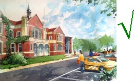 Artist's impression of enhanced Soper Hall, in Harestone Valley Road, near Morrison's car park, station, buses and Town Centre.